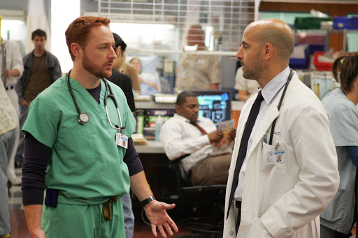 Scott Grimes is Dr Archie Morris and Stanley Tucci is Dr Kevin Moretti [ER Season 13]